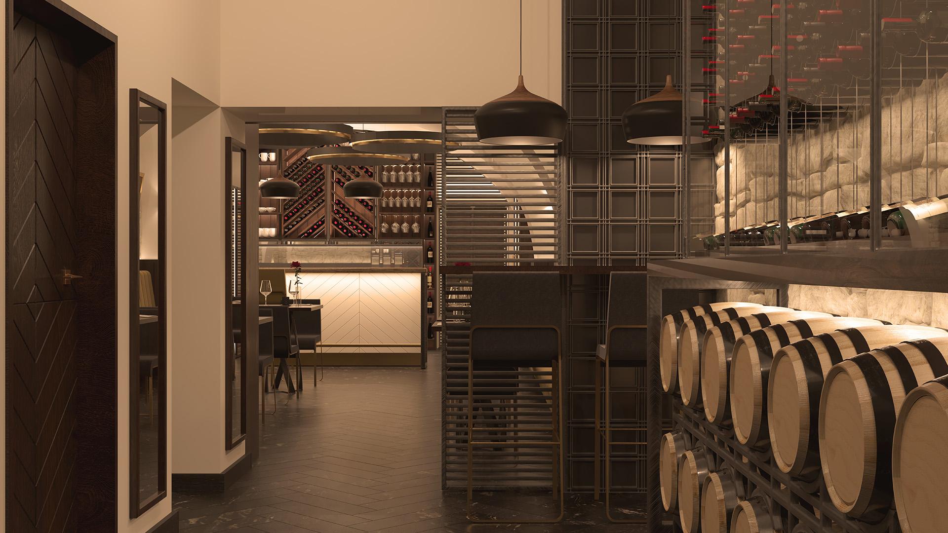wizualizacja wnętrza winiarni