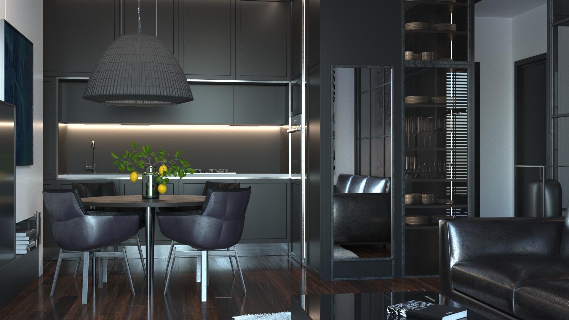 wizualizacja salonu z kuchnią
