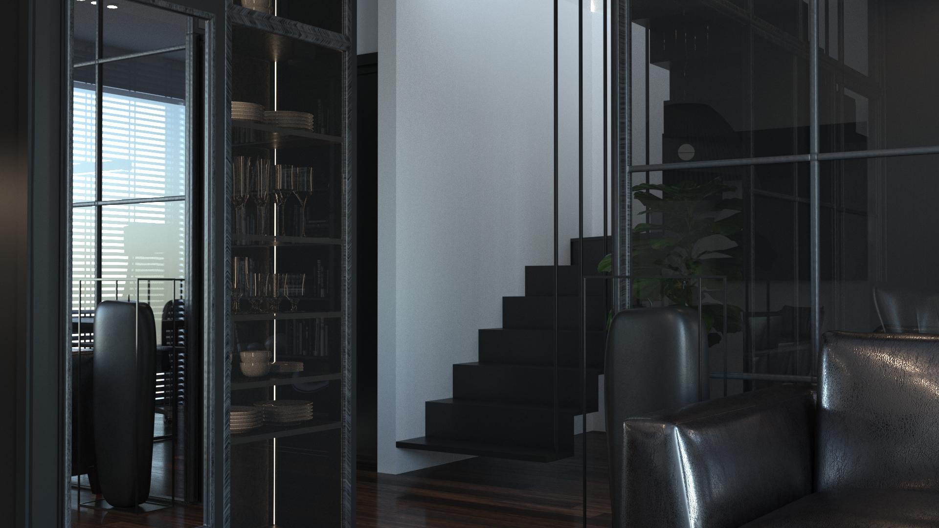 wizualizacja pokoju ze schodami