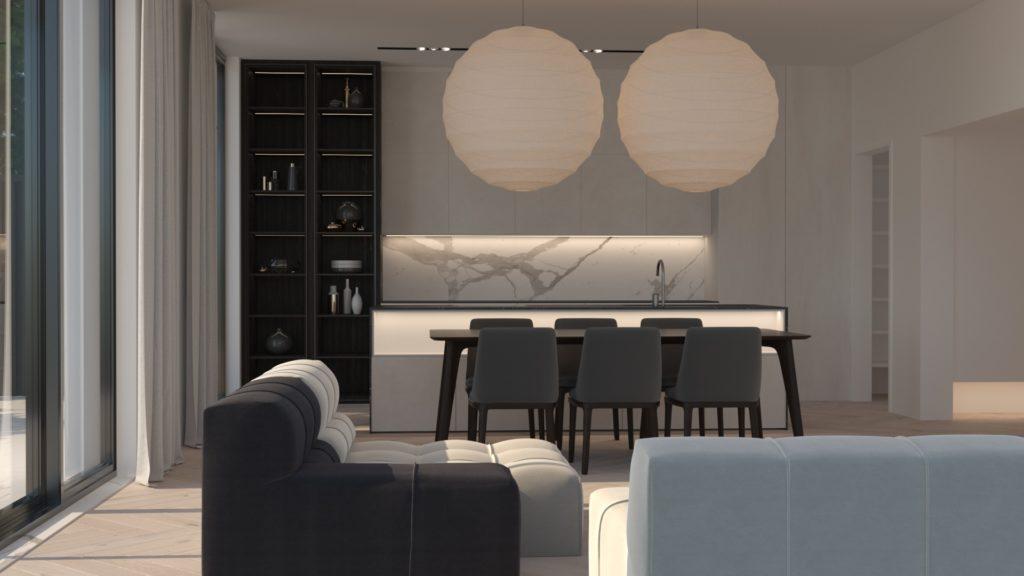 wizualizacja salonu z aneksem kuchennym