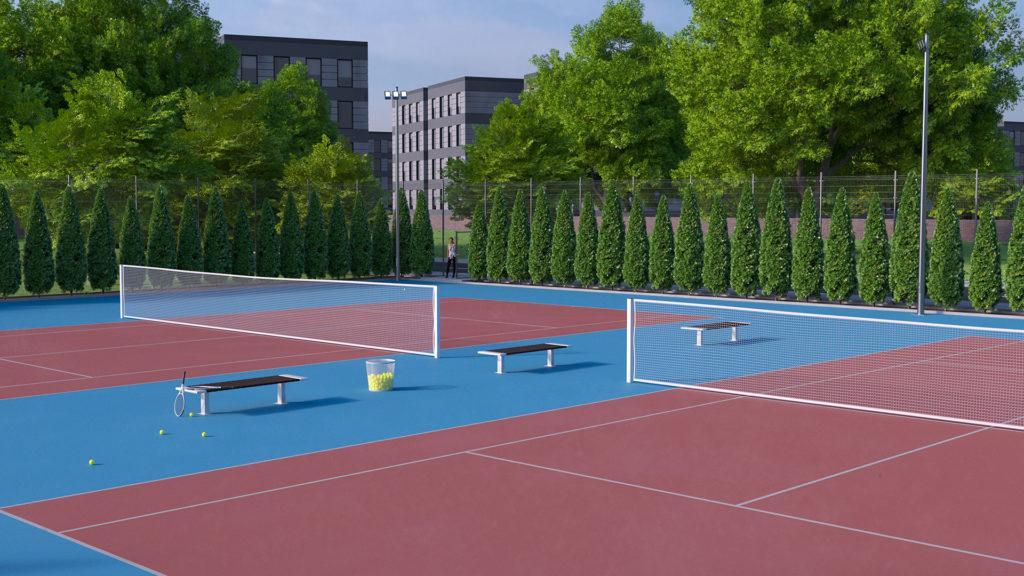 wizualizacja kortu tenisowego