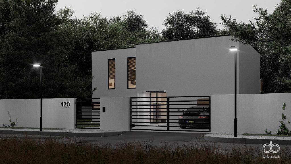 wizualizacja wizualizacje białego domu o zmierzchu